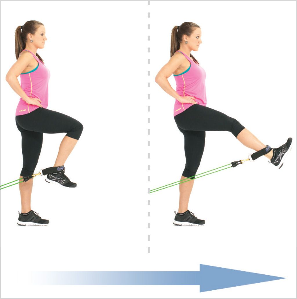Standing Leg Extension With Exercise Bands