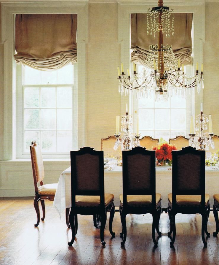 Sepia Sketches Roman Shades Living Room Neoclassical Interior Dining Room Windows