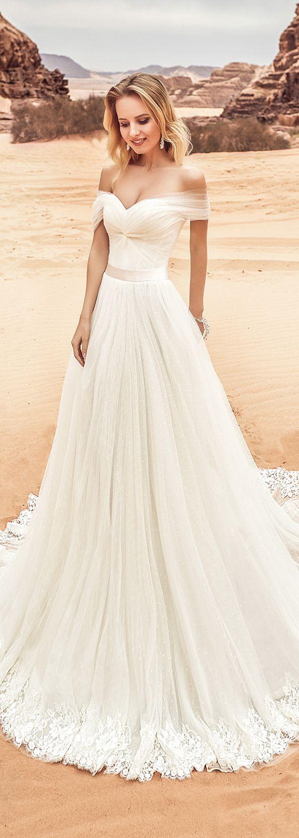 Fantastic tulle offtheshoulder neckline aline wedding dress with