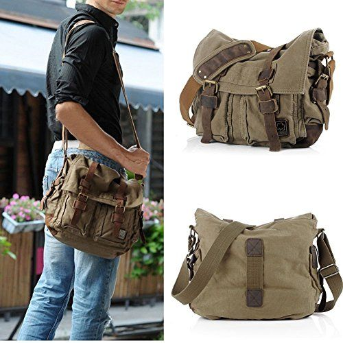 """800d0556a49 eBoTrade New Version Men's Trendy """"Colonial"""" Italian Style Messenger Gift  Bag with Leather Straps – Olive Drab Green"""