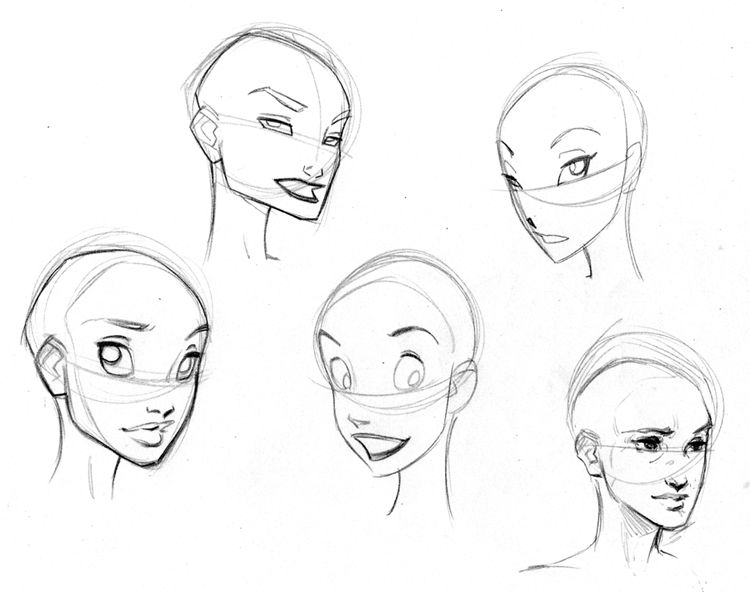 Female Character Design Tutorial : Disney style character concept art faces and expressions