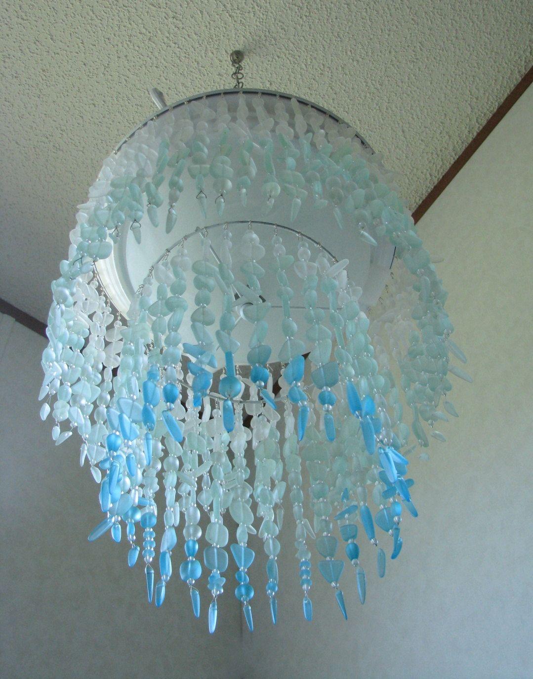 Sea Glass Chandelier Lighting Fixture Coastal Decor Blue Ombre Etsy Sea Glass Chandelier Sea Glass Decor Chandelier Lighting Fixtures