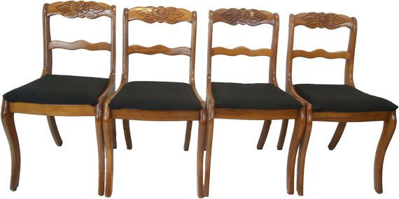 Items Similar To Mid Century Rose Carved Mahogany Saber Leg Dining Chairs On Etsy
