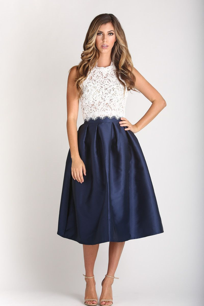 Lace in My Heart Navy Blue Lace Midi Skirt | Bridesmaid outfit ...
