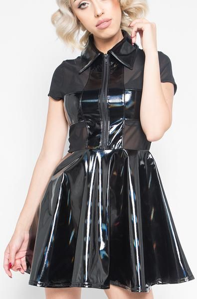 d4c51f6a13 Iron Fist Clothing 2017 Spring Unholy Communion Skater Dress Vinyl Black 01