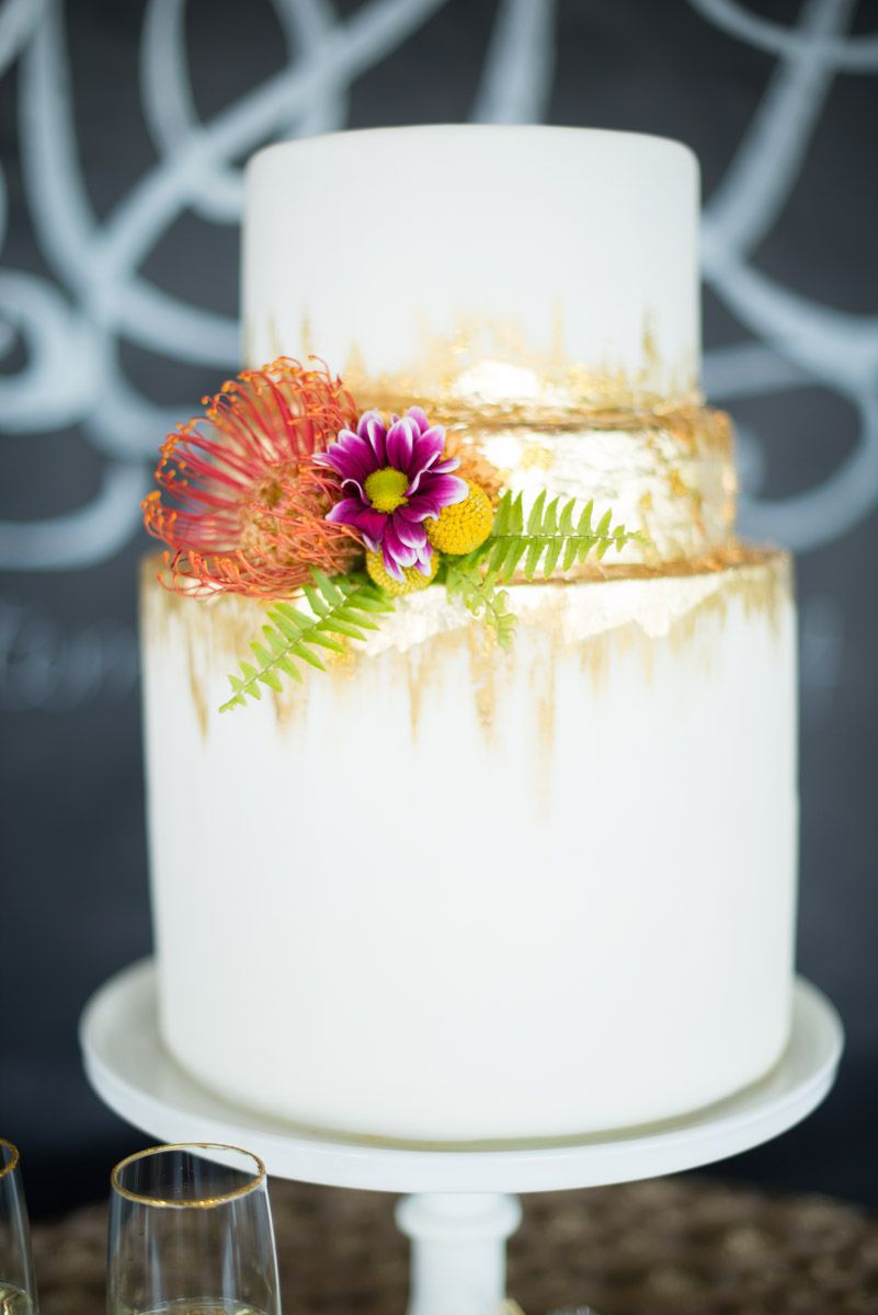 Styled shoot glittery gold pretty pops of color arts bakery