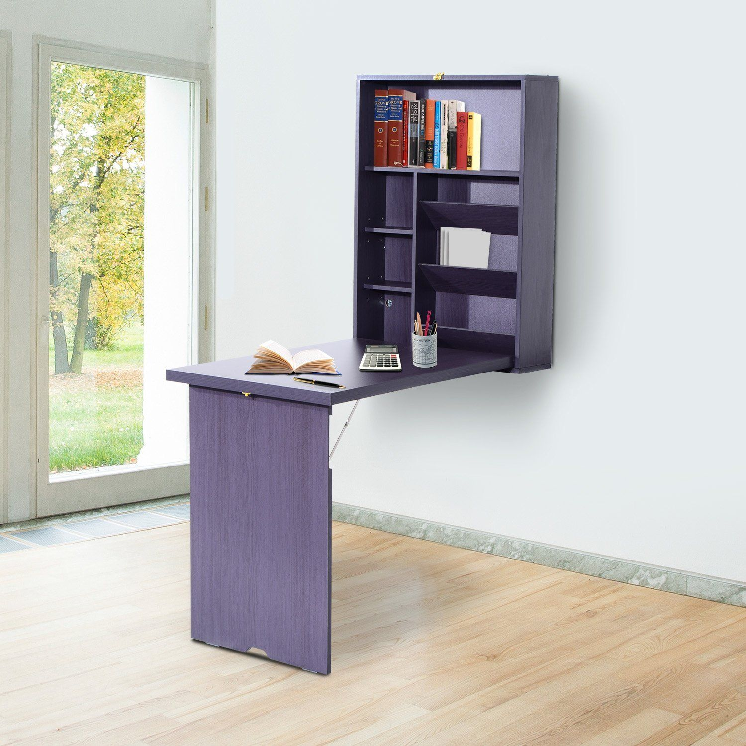 Fold Out Convertible Wall Mount Desk Espresso