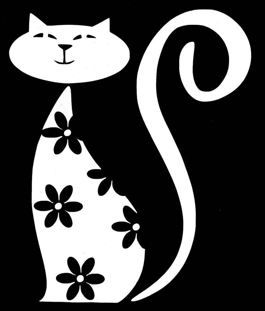 Cat Flower Design White Vinyl Sticker Unbranded Cat Kitty Ebay White Vinyl Sticker Kitten Decor Vinyl Sticker