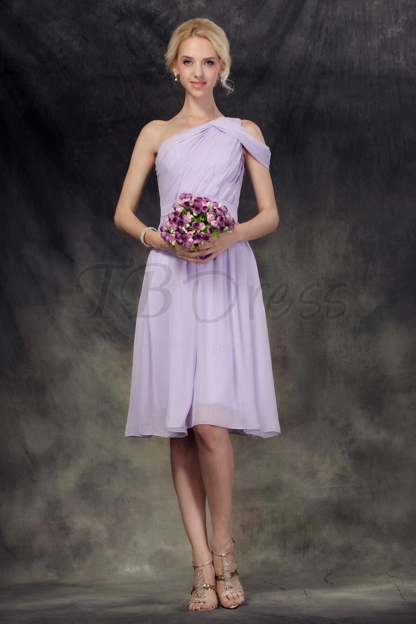 Ruched aline oneshoulder short kneelength bridesmaid dress