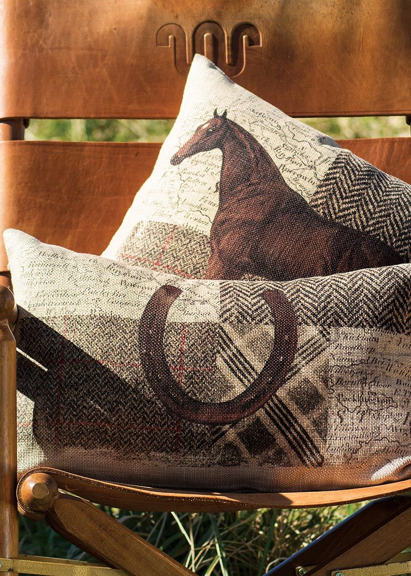 Neutral tones keep the combo of classic patterns on these pillows looking sleek