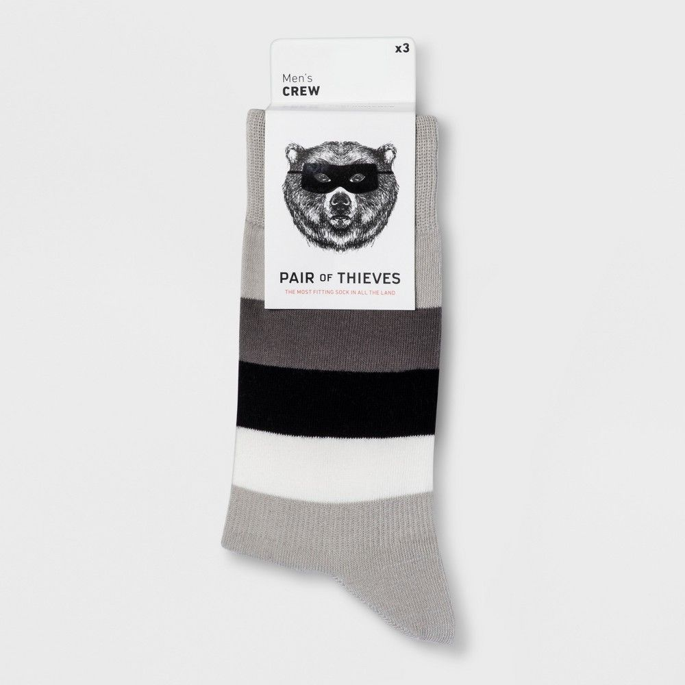 Pair Of Thieves Mens Socks 8-12 New Black Stripe Crew sock Athletic White Casual