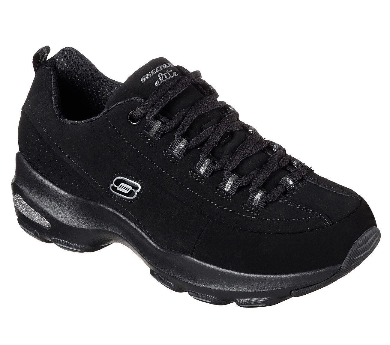 12293/Black Women Skechers Dlite shoe Sporty Casual Memory Foam