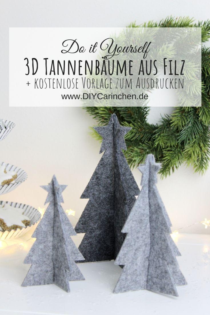 DIY – 3D Tannenbaum aus Filz einfach selber machen + gratis Vorlage