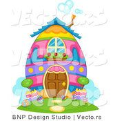 Cartoon Vector of a Colorful Easter Egg House by BNP Design Studio