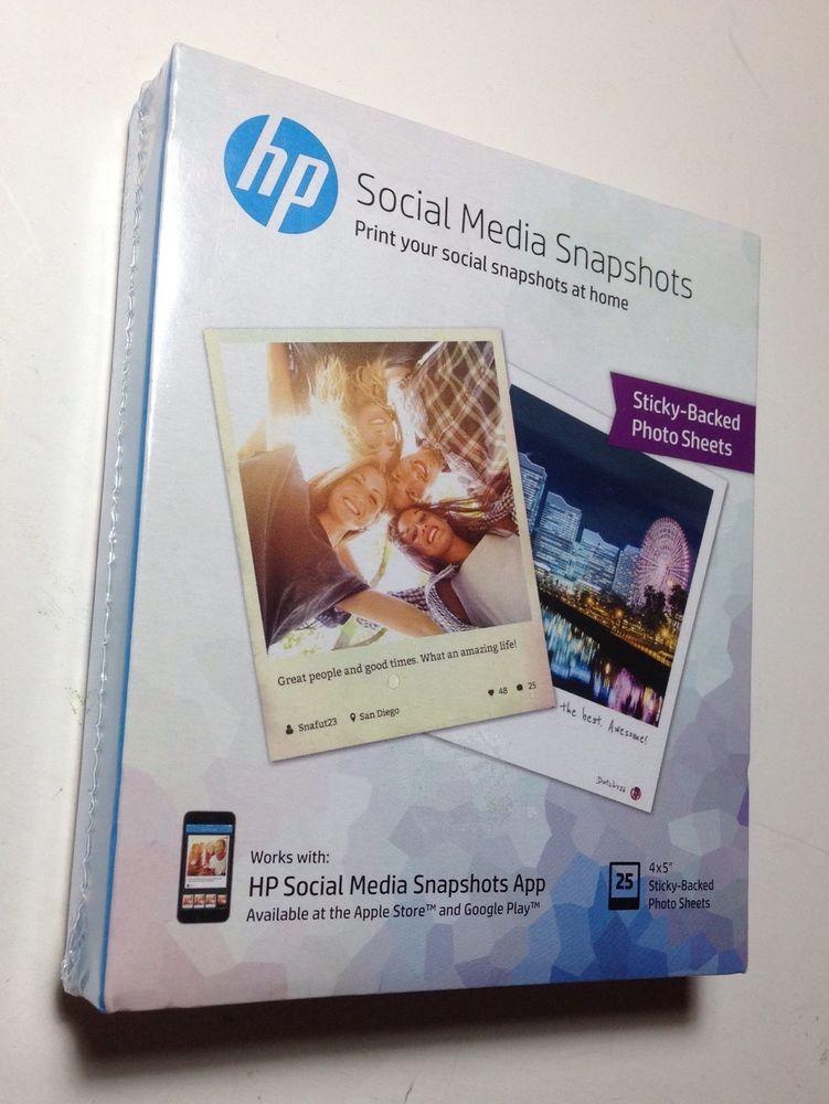 Hp Social Media Snapshots 25 Sticky Back Photo Sheets 4 X 5 New Crafts Diy Photo Sheets Snapshot App New Crafts