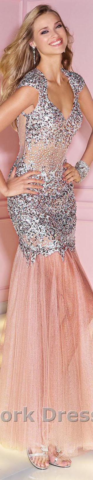Alyce Paris design #large #formal #sparkly #silver #pink #dress ...