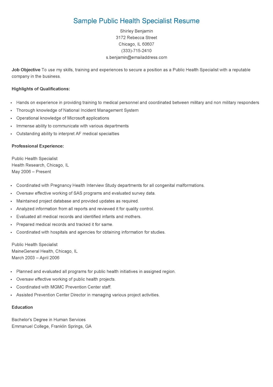 sample public health specialist resume