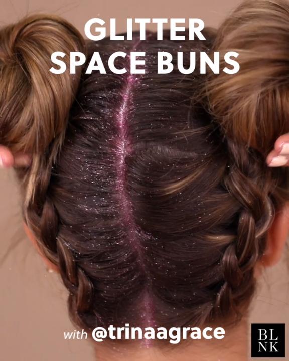 Glitter Space Buns Tutorial #hairtutorial #glitterroots #spacebuns #festivalhair