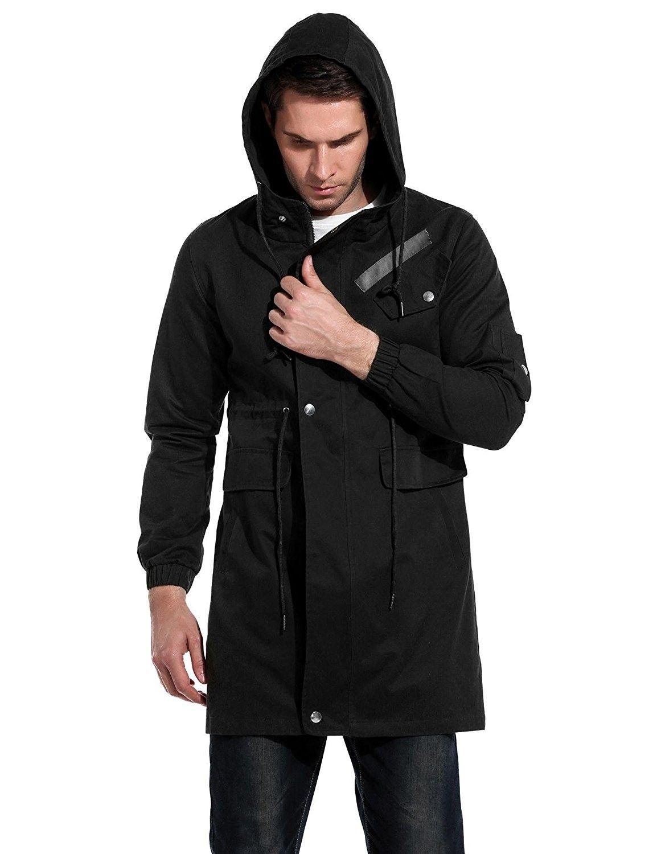 Coofandys Men S Cotton Lightweight Front Zip Jacket With Hood Black Cl187agltrx Casual Trench Coat Mens Jackets Casual Outdoor Coats [ 1500 x 1154 Pixel ]