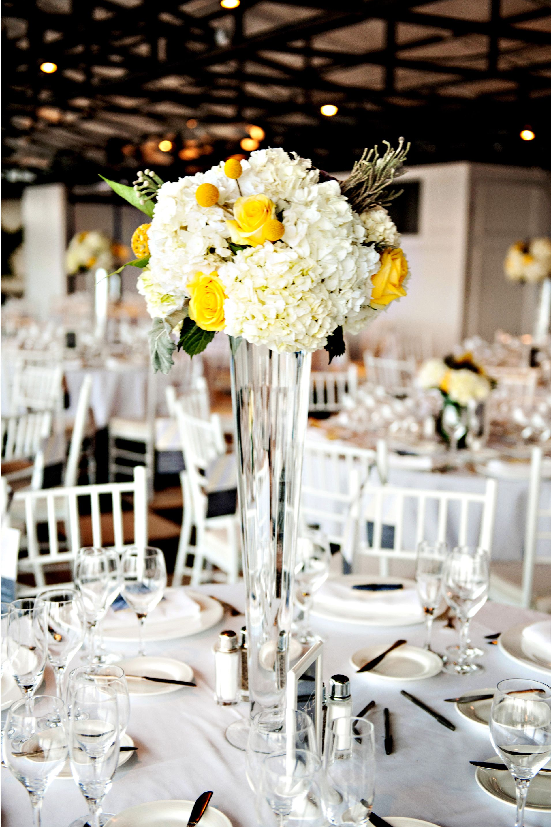 Rose and Hydrangea Centerpiece in Tall Vase | My Wedding | Pinterest ...