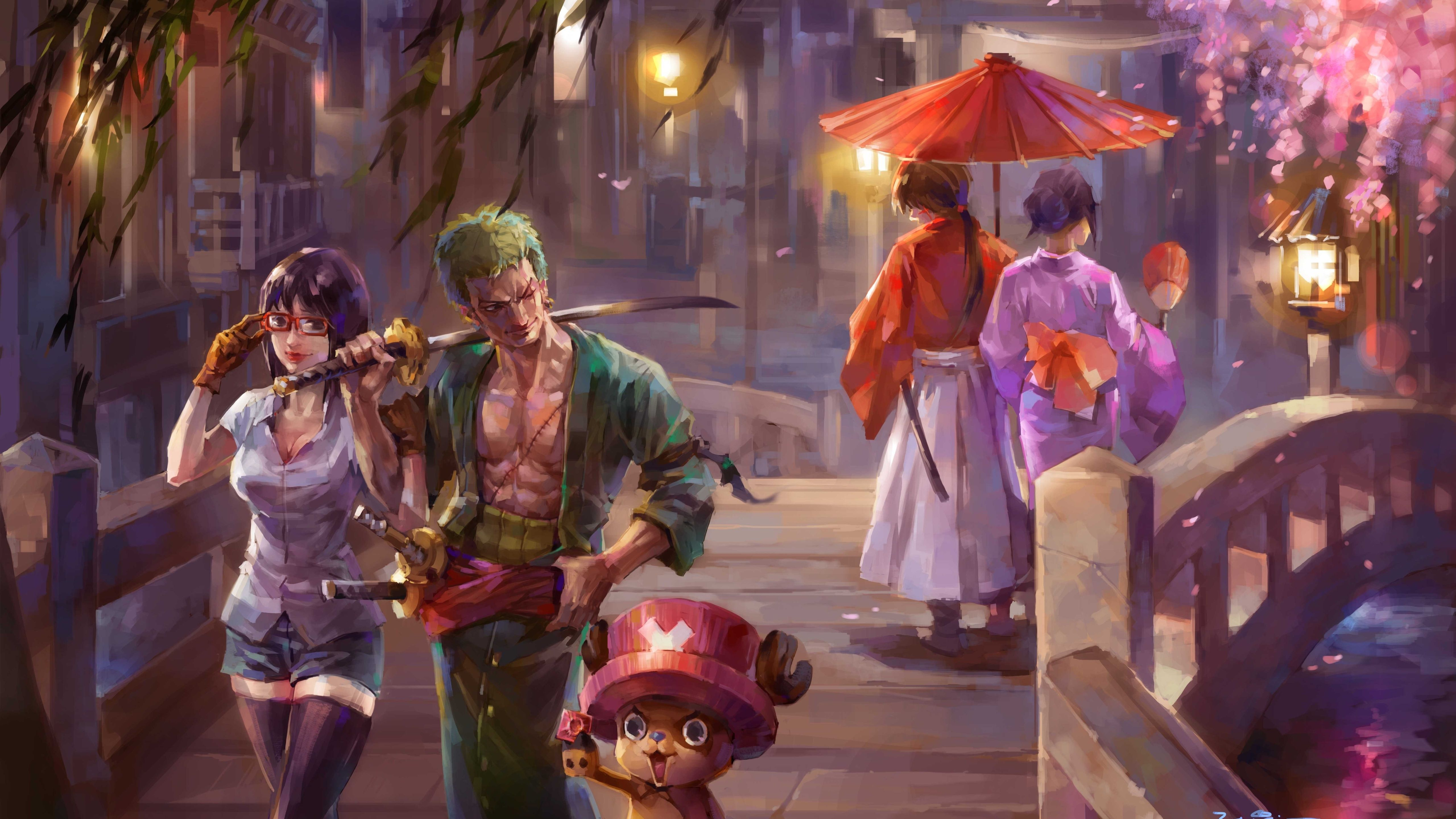 5120x2880 One Piece Painting 5k 5k Hd Rurouni Kenshin One Piece Anime One Piece Crossover