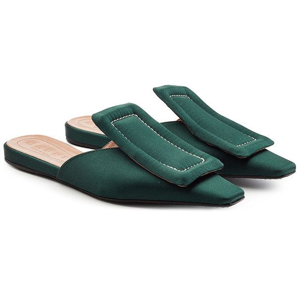 Marni Satin Mules ($475) ❤ liked on Polyvore featuring shoes, green, mule
