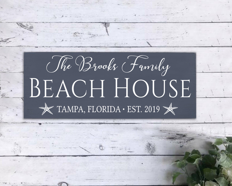 Personalized Beach House Sign Beach House Decor Beach House