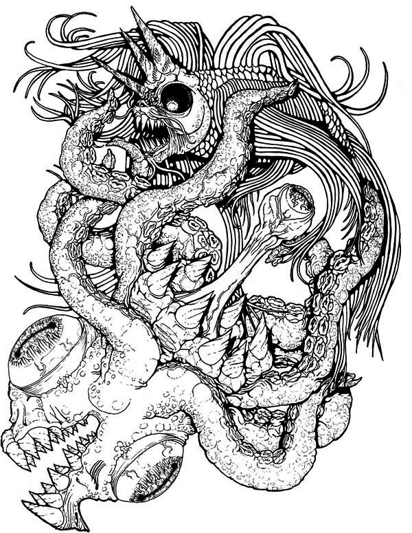 Awesome Drawing Of Sea Monster Coloring Page : Kids Play ...