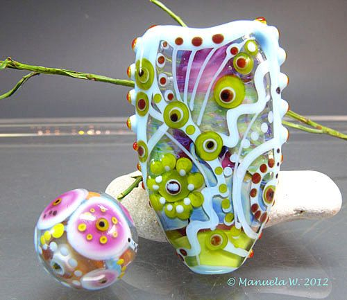 Heart of Spring  Handmade lampwork glass by ManuelasGlassArt, $125.00