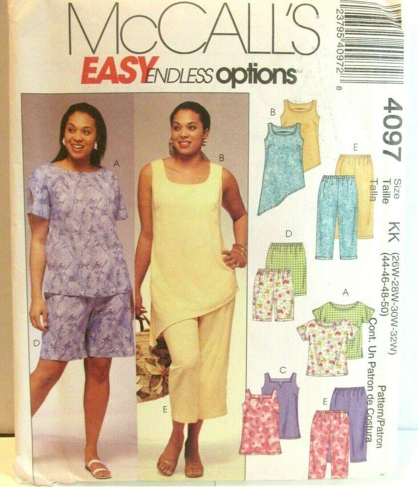 Mccalls 4097 Pattern Plus Size Womens Top Tunic Shorts Capris Easy