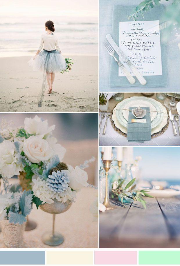 Netural And Dusty Blue Beach Wedding Ideas Inspiration For Summer