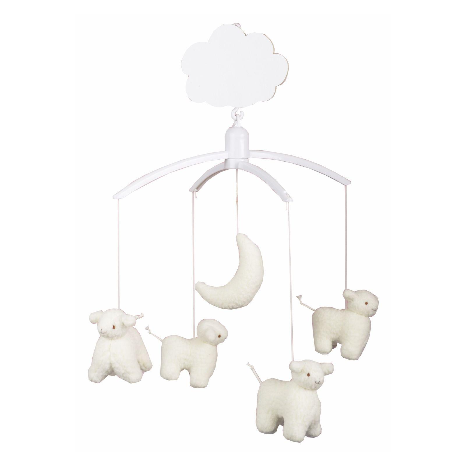 mobile musical moutons et lune trousselier mobile support plastique berceau magique. Black Bedroom Furniture Sets. Home Design Ideas