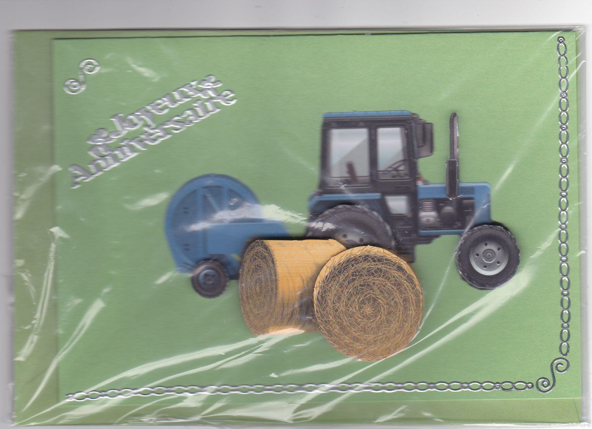 Carte joyeux anniversaire le tracteur taille de 15 x 10 - Tracteur rigolo ...