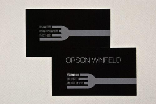 Sleek Personal Chef Business Card Restaurant Business Cards Business Card Inspiration Personal Business Cards