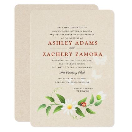 Rustic floral ladybug butterfly wedding invitation marriage rustic floral ladybug butterfly wedding invitation marriage invitations wedding party cards invitation stopboris Images