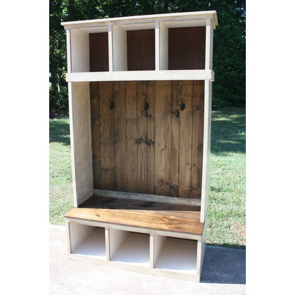 White Distressed Hall Tree Bench Entry Cubbies Storage