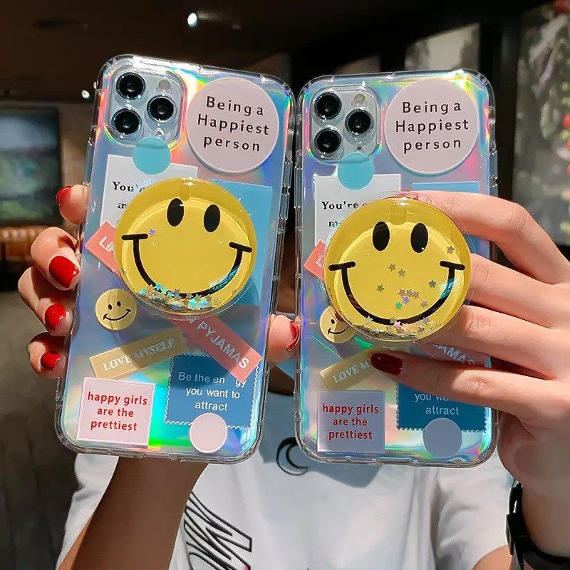 Holographic Glitter Happy Smiley Face Pop Socket Phone Stand Ring Holder