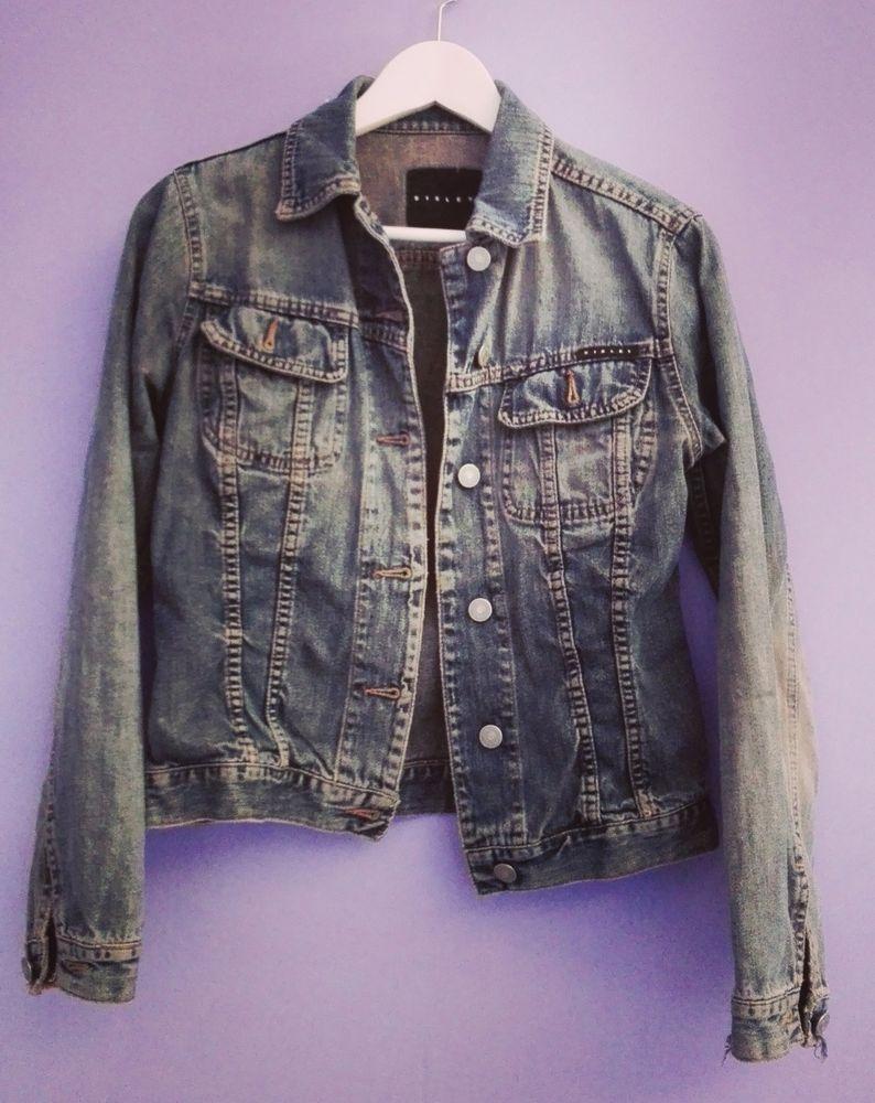 GIACCA giubbotto jeans denim blu donna SISLEY Italia S M 42 jacket cazadora  COAT faaebfa4b8b