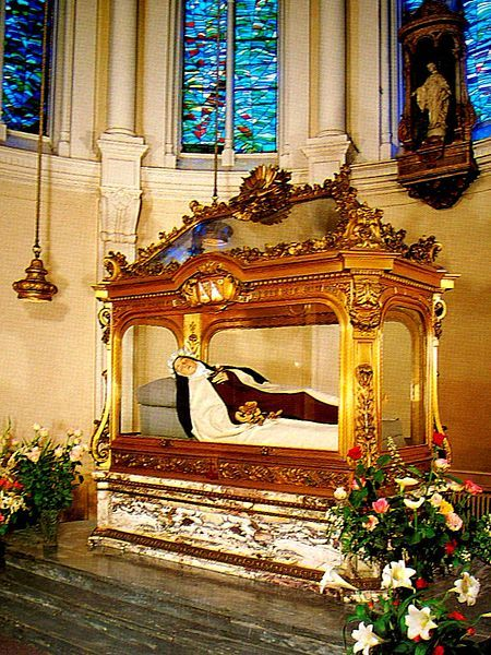 Tomb of Saint Thérèse of Lisieux (AKA The Little Flower of Jesus) in the Basilica of St. Thérèse, Lisieux, France