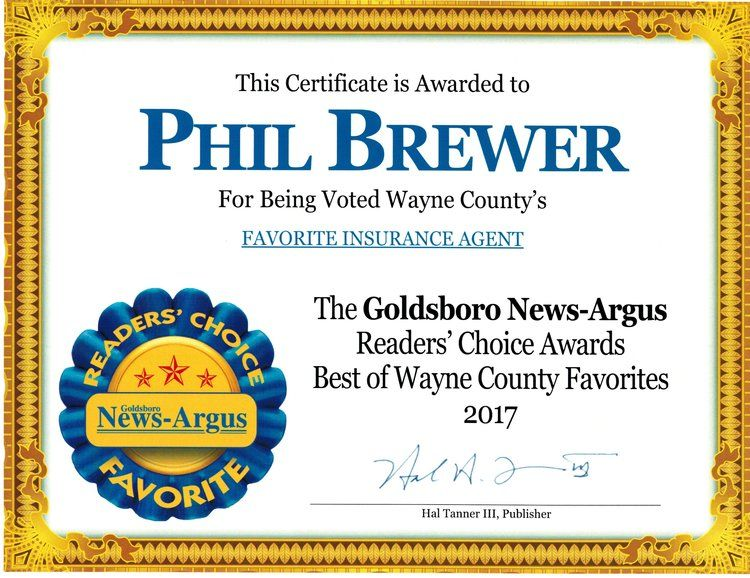 Goldsboro News Argus 2017 Readers Choice Favorite Insurance Agent Winner And Honorqable Mention For Insurance Agency Insurance Quotes Insurance Agency Quotes