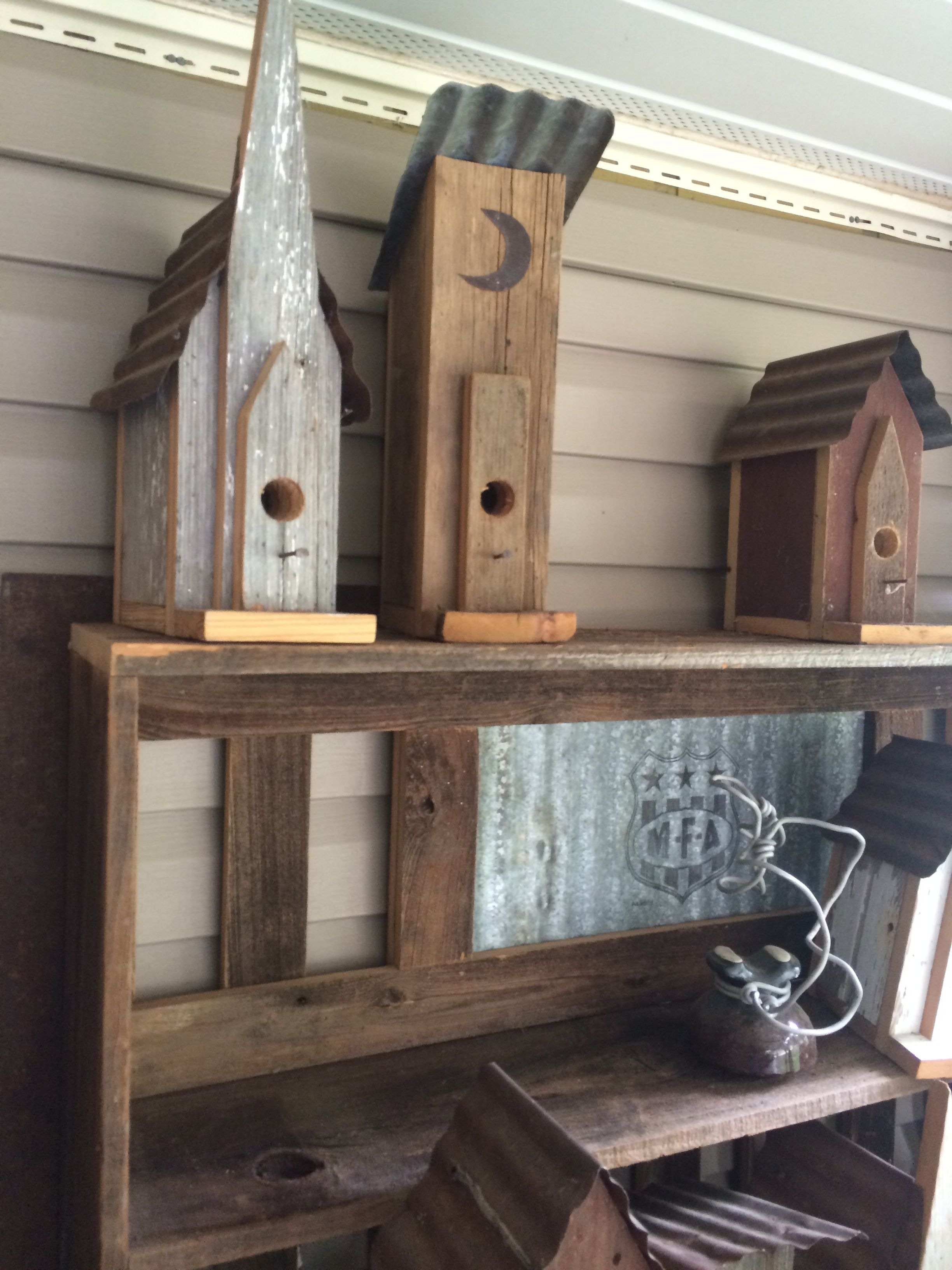 For sale birdhouses Made from old barnwood & tin