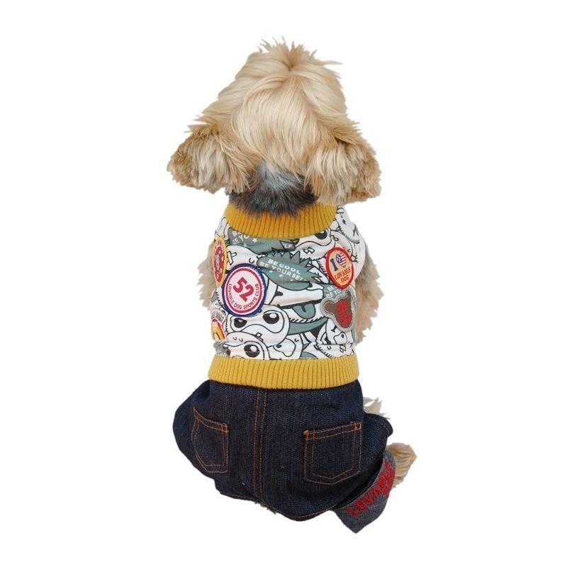 13879e171ff Anima Pet Puppy Dog Clothes T Shirt Apparel With Denim Jeans Pants Set  (Yellow S
