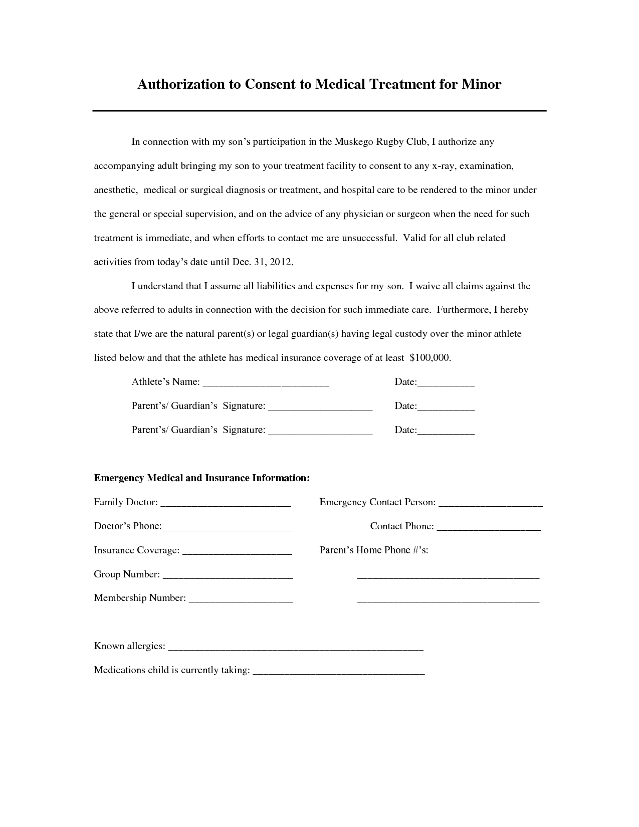 Minor Medical Treatment Authorization Letter And Consent Sample Child Care