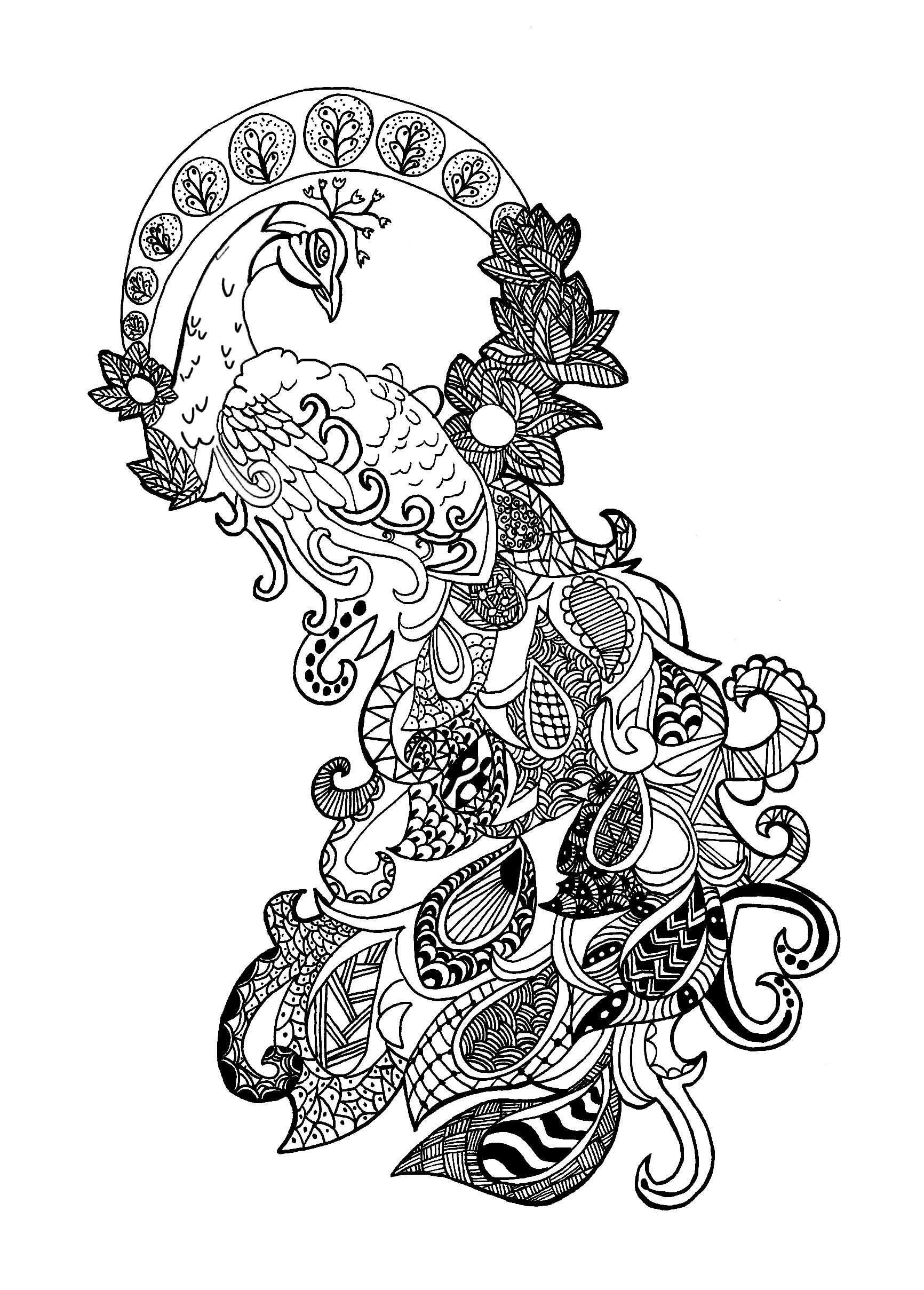 An Amazing Peacock Really Zentangle And Really Hard From The Gallery Zentangleartist Celine Mandala Coloring Pages Animal Coloring Pages Coloring Pages [ 2417 x 1732 Pixel ]