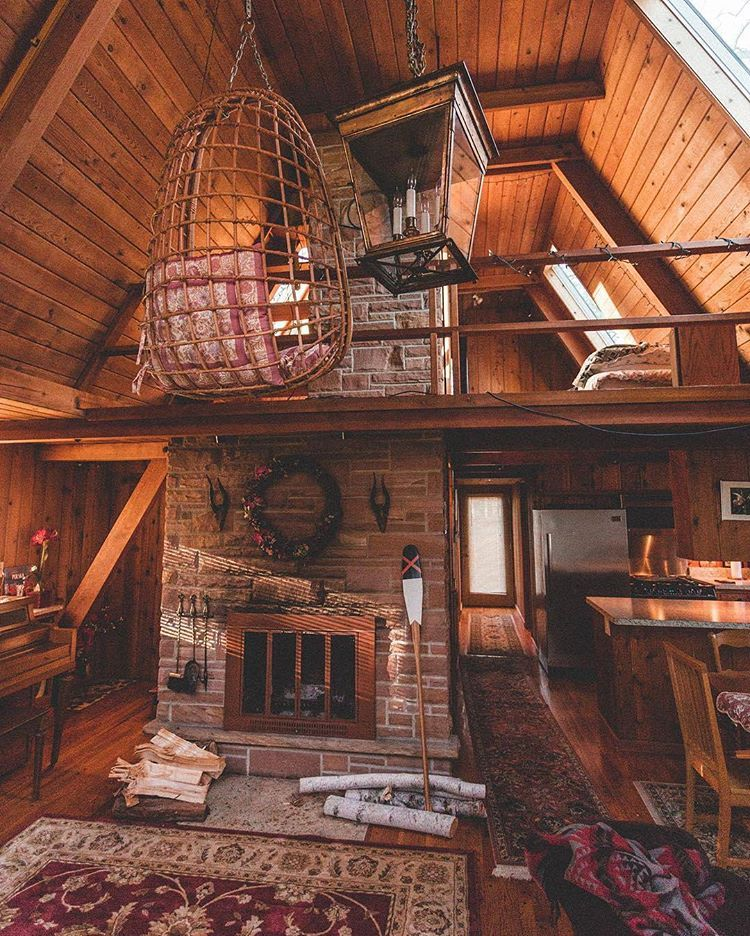Loving The Inside Of This Cabin Phot A Frame House Rustic