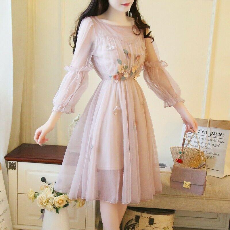 Sweet Womens Mesh Fairy Midi Prom Party Cute Long Sleeve Dresses Prom Party Cute Affil Cute Long Sleeve Dresses Prom Dresses Long With Sleeves Fashion Dresses