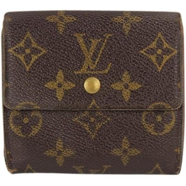Pre Owned Louis Vuitton Monogram Snap Wallet Classic Square Flap Sh 278 Liked On Polyvore Featuring Bags Wallets Accessories Brown Flap Wallet Snap Cl