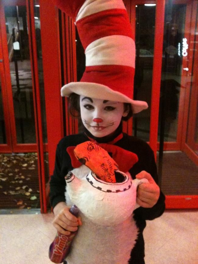 a cat in the hat costume with face paint - Cat In The Hat Halloween Costume Ideas