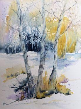 Baume im winter aquarell winterlandschaft in aquarell - Baum malen ...