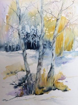 Baume Im Winter Aquarell Winterlandschaft In Aquarell Baum